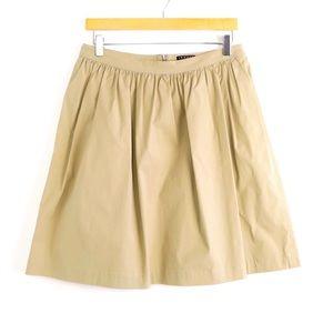 Theory beige khaki A-line mini skirt casual staple